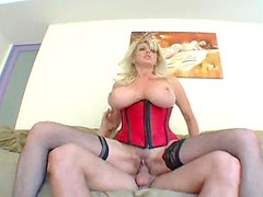 Big ass blonde in red corset screwed hard