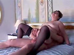 Fat girl with hairy pussy on top of a cock
