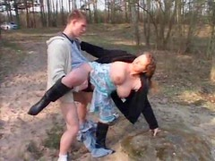 Sex by the pond with chubby milf