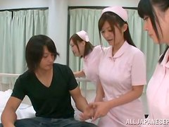 A few Japanese nurses get naughty with two handsome patients