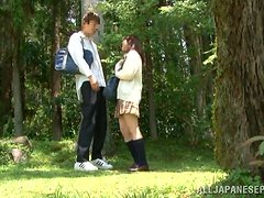 Japanese students go to the forest to have some naughty banging