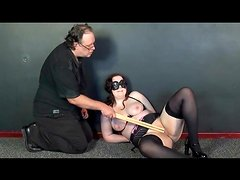 Bound girl in stockings does pain fun