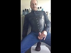 gay anal dildo ride in buttoned up blouse and corset