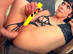 Marvelous dark haired girl Asphyxia Noir is having sex while wearing her sexy black stockings