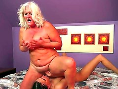 Lusty granny Judi is having fun licking