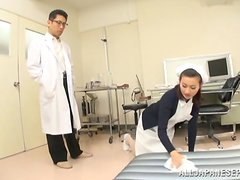 Adorable Japanese nurse rides her patient's dick