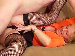 Fishnet mature and young man go banging