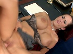 Voluptuous brunette Carmella Bing rides the dick of nasty student in the college