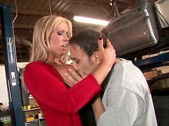 Semen - Busty blonde bombshell gives a mechanic a great blowjob