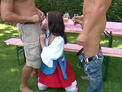 Oktoberfest afterparty as a filthy Euro doll gets two dongs at once
