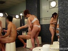 Amazing group sex in the bathroom with some Japanese chicks