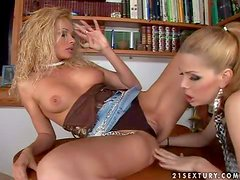 Young turned on blonde beauty with heavy make up and