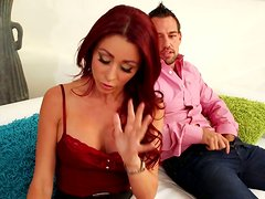 Red-haired hot pants Monique Alexander gives a head