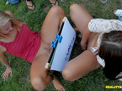 Cash hungry girls remove their jean shorts and panties with