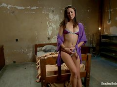 Slim and hot Anna Morna gets tied up and fucked on a bed