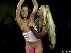 Lesbian mistress Kathia Nobili with long blonde hair loves Cipriana's