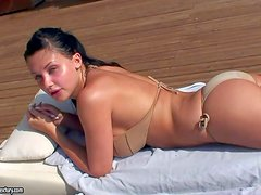 Perfect bodied brunette Aletta Ocean with bubble butt and big