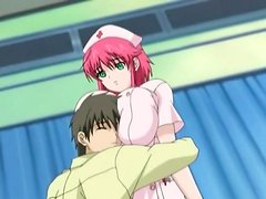 Lusty anime nurse lets him play with her tits