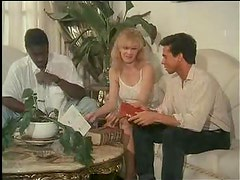 Peter North and black guy in retro fuck slut threesome