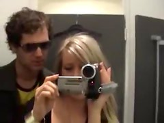 Dressing room blowjob and doggystyle sex