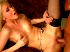 Skinny slut in sexy stockings fuck and facial
