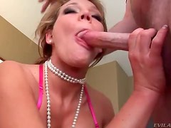 Babe with pearls face fucked then gets facial