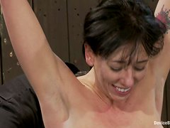 Alia Janine moans hotly while getting her pussy toyed in BDSM scene