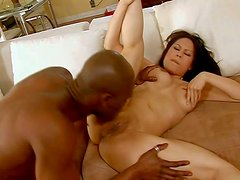 Pale curvy asian Sasha Hollander with juicy tits gets licked