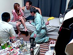 Sexy Japanese milf gets fucked by three men indoors