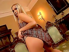 Adorable blond babe bends over and shows her holes