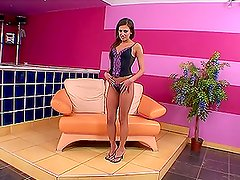 Eva Mendez moans sweetly while fucking her pussy with toys indoors