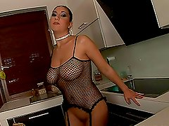 Sylvi Black the hot brunette in orange fishnets gets butt fucked