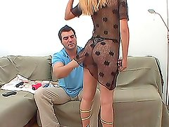 Dirty blond babe Fatimah is drinking his piss