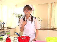Sexy looking chick in school uniform in vibrator pleasures