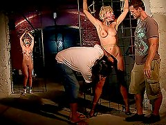 Tied up bitches get toyed with and fucked in bdsm video