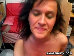 Amateur Milf sucks and fucks with cum in mouth