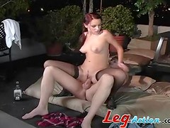 Fiery redhead with small tits getting ravaged raw