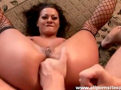 Hot milf in sexy fishnet stockings getting ass drilled