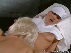 Two horny nuns eat their sopping wet cunts