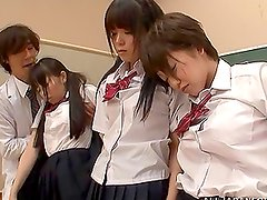 Randy Japanese Teens Line Up To Suck, Fuck & Be Creampied