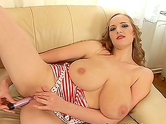 Adorable blonde girl with big tits has passionate sex