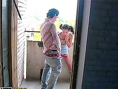 Fucking An 18-Year-Old Girl's Ass in Public on the Balcony
