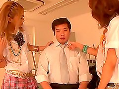 Miku Ohashi and her GF suck a prick and ride it by turns