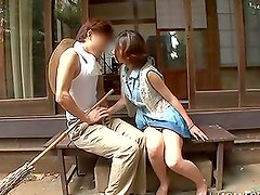 Slutty Japanese chick lifts her skirt up and gets fucked