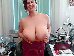 Lovely Chubby Brunette with Massive Melons Fucked for Facial