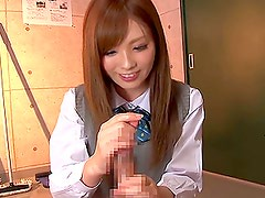 Kaori feels happy while playing with this cock indoors