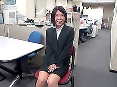 Naughty Japanese teen girl gets toyed in the office