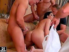 Brunette Slut Fucked by three dicks with DP Action