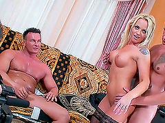 Backstage: Hot Blonde Babe Gets Both Holes Fucked In DP Video