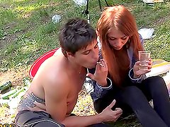 Blowjob and Anal Fingering Action in Tent Before Fucking a Sexy Teen